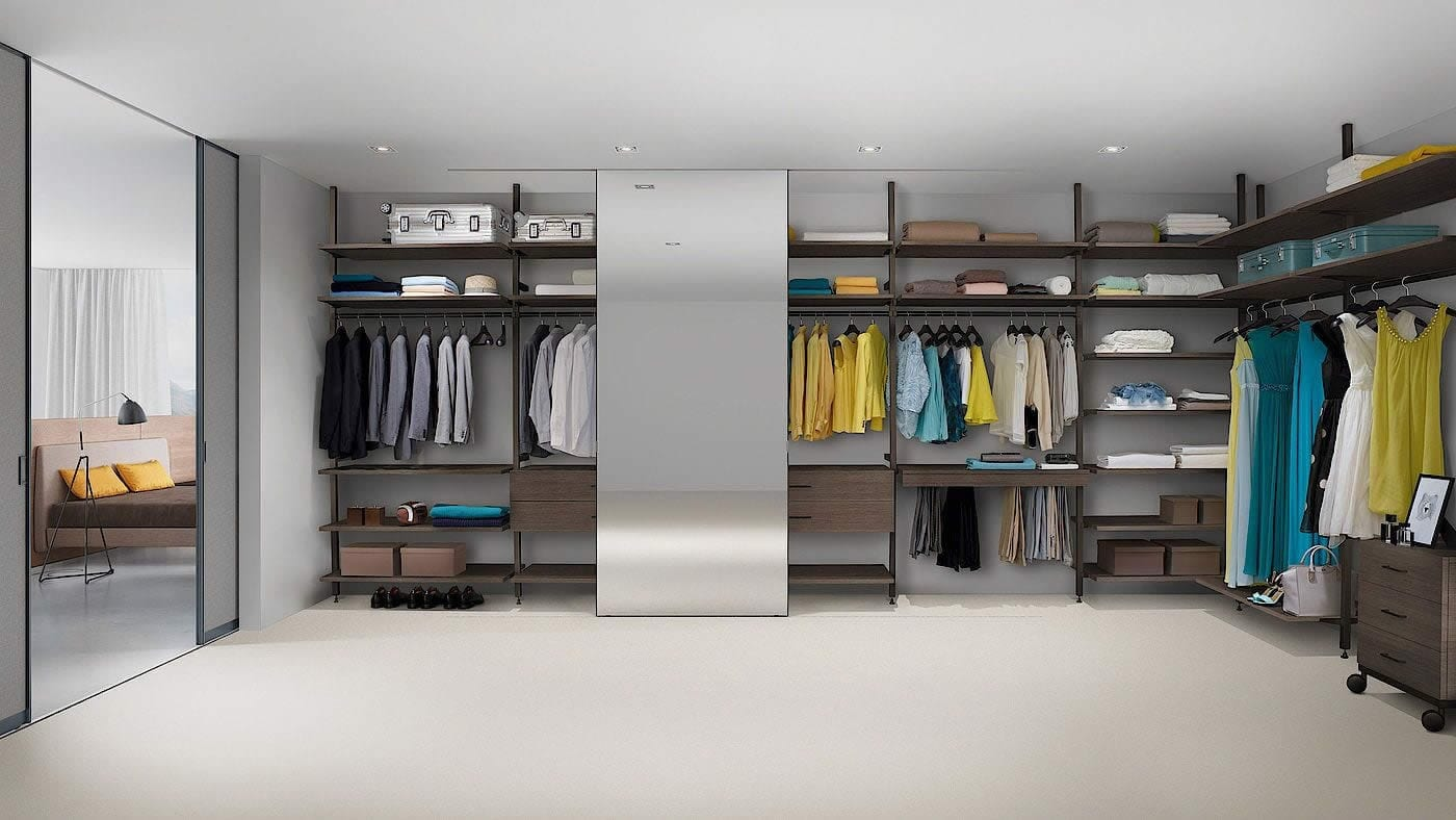 Chrome and dark pine walk-in wardrobe