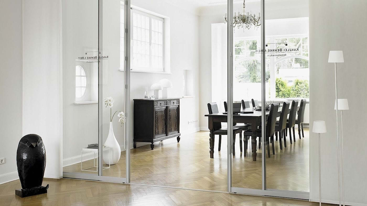 Clear Glass Sliding Divider with handrail