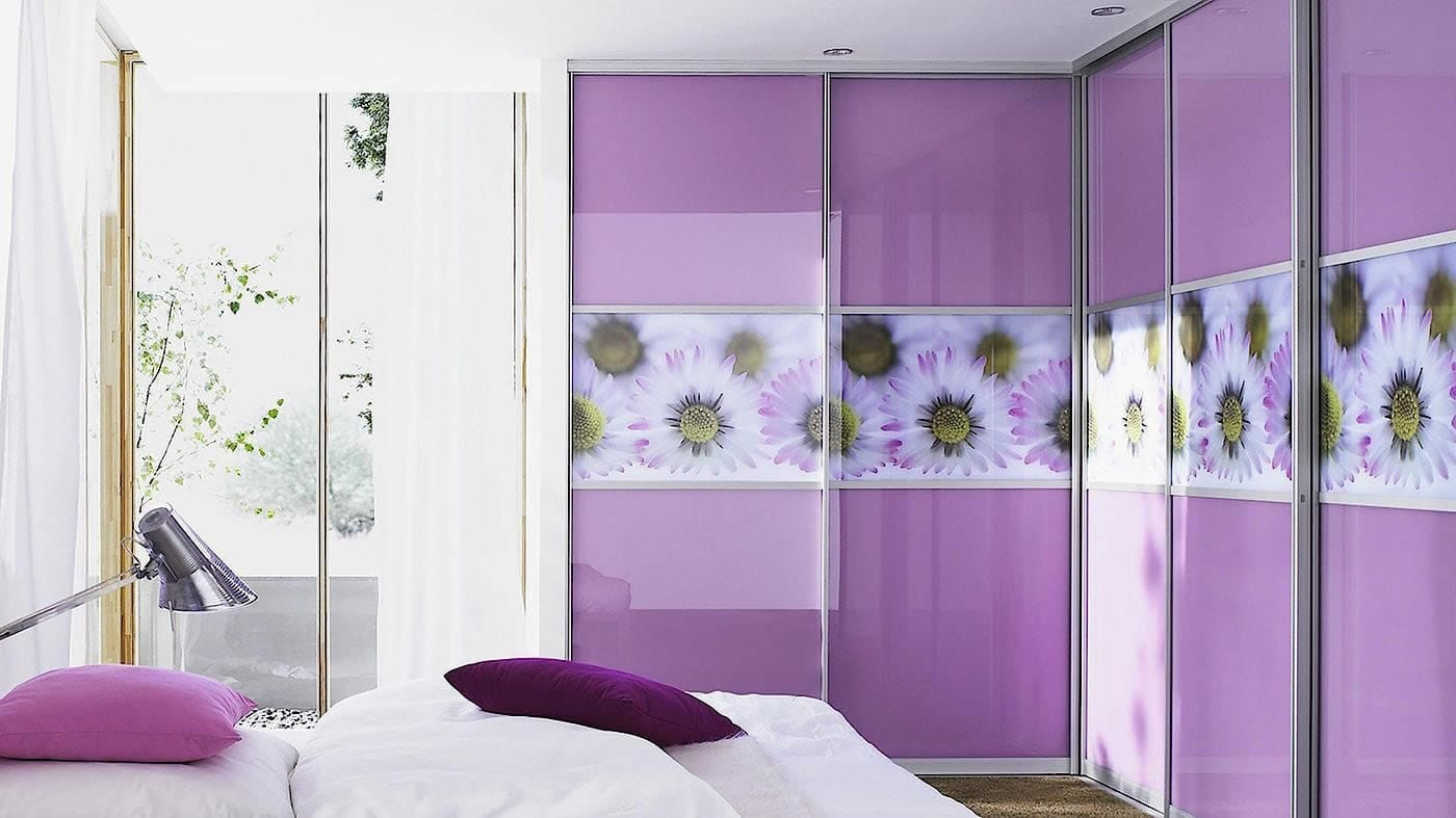 Purple Floral Corner Fitted Wardrobe