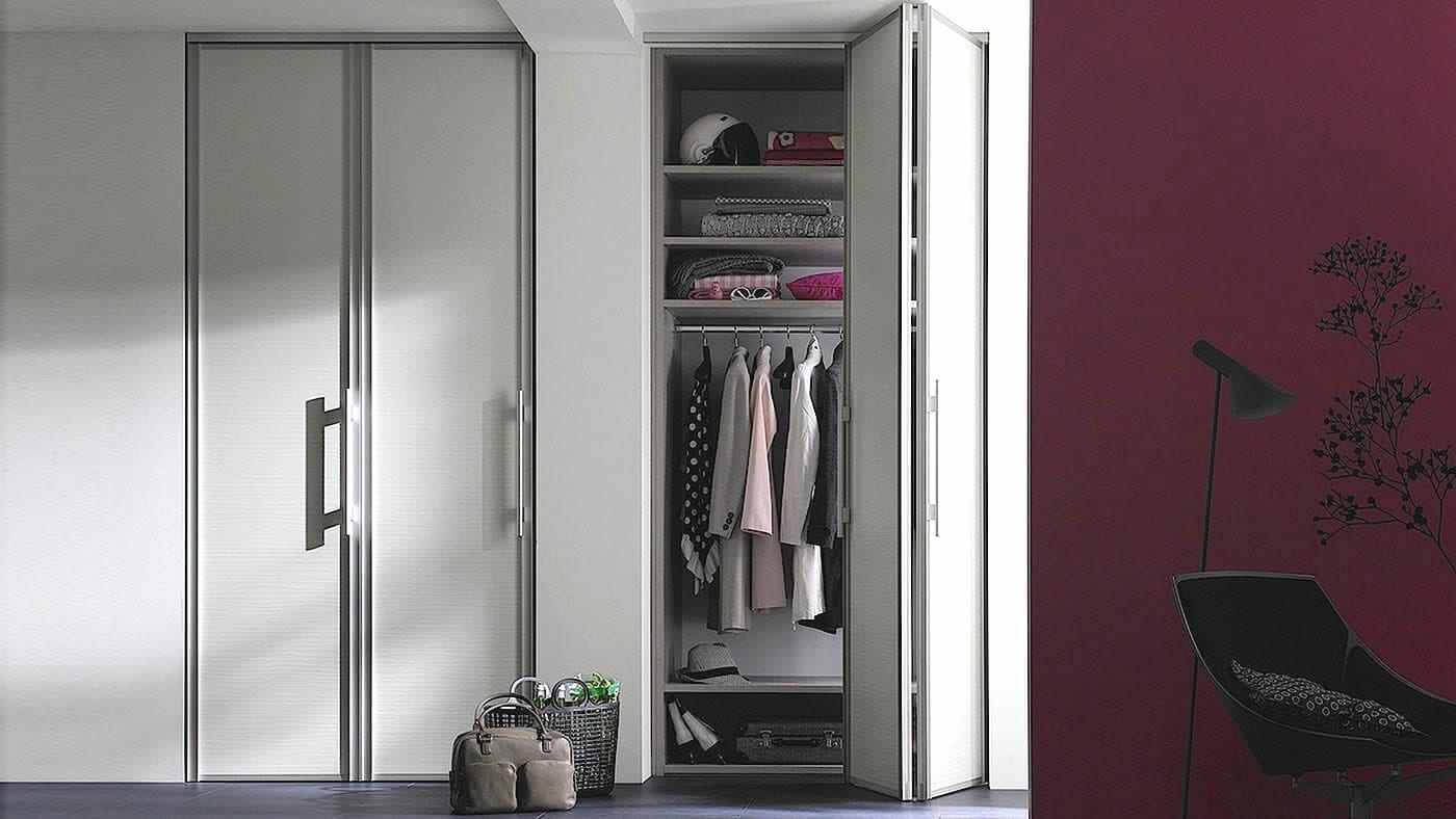White matt folding door sliding wardrobe